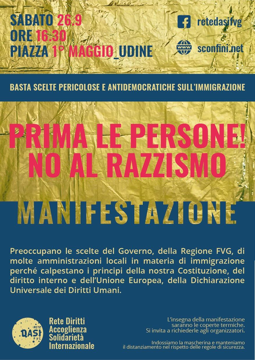 Manifestazione regionale 26 settembre 2020 prima le persone